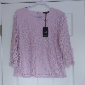 Adrianna Papell NWT lace blouse size Large